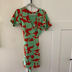 Diane von Furstenberg turquoise/red wrap dress!
